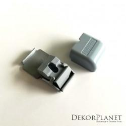 Szary uchwyt pojedynczy sufitowy do szyn aluminiowych ZS Creativa + kołek z wkrętem