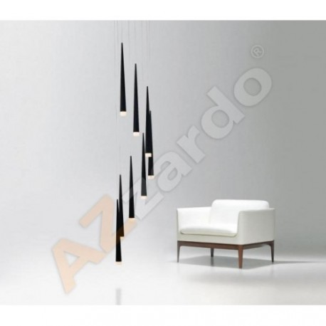 Lampa STYLO 8 pendant MD 1220A-8 black metal/glass Azzardo