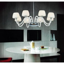 Lampa GLORIA 8 pendant MC 2030-8 metal/glass chrome/whi Azzardo