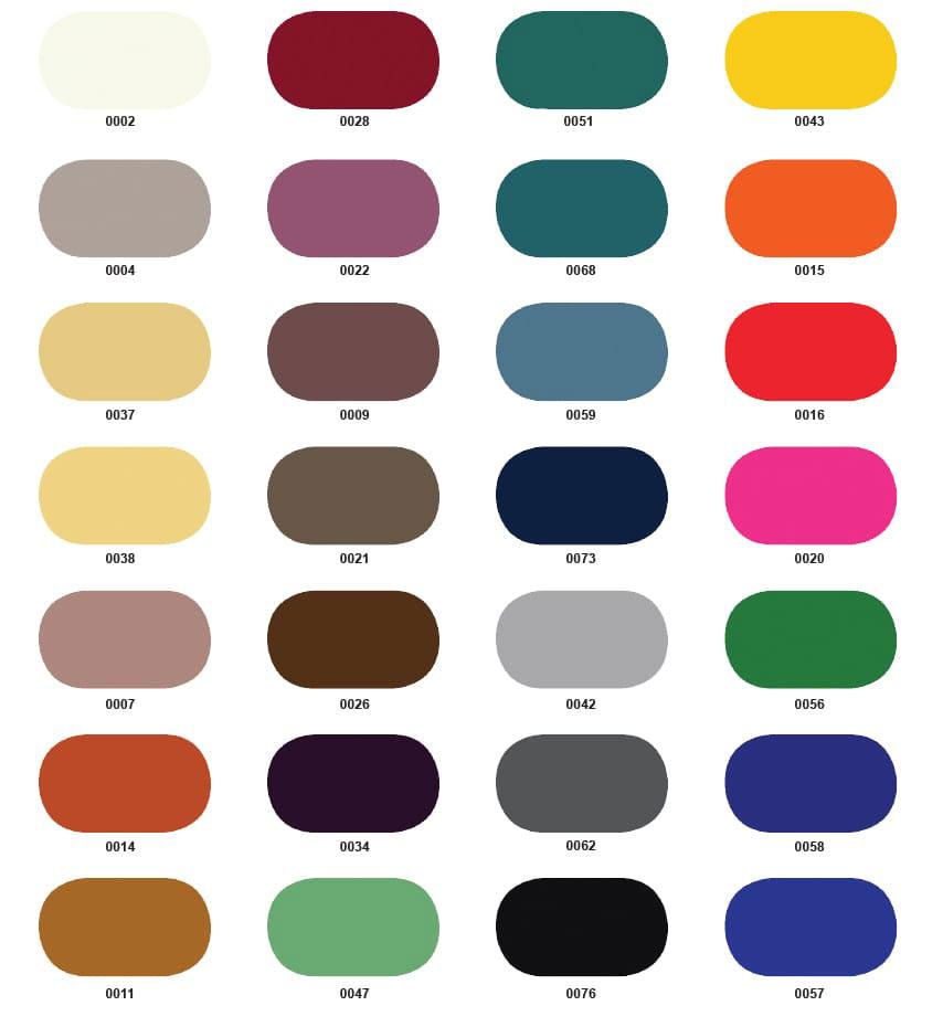 Wzornik kolorów standardowych flokowanych listew przypodłogowych
